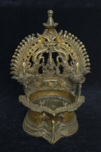 Hindu-bronze-votive-ethnic-oil-lamp-034-Deepalakshmi-034-India-early-20th-century