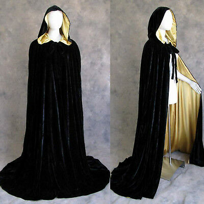 Lined Black Velvet Gold Satin Renaissance Cloak Cape Wedding Wicca SCA Cosplay