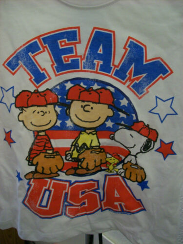 Snoopy Charlie Brown USA Baseball Team Boy Girl T Shirt