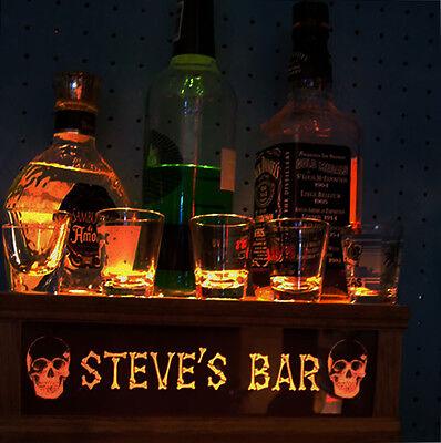 "ILLUMINATED, PERSONALIZED, SKULL & BONES"" shot glass & liquor bottle display"