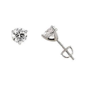 2-0-ct-tw-14k-White-Gold-amp-Cubic-Zirconia-Stud-Earrings-Screw-Back-CZ-Earrings