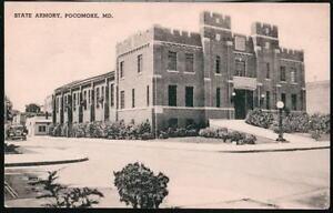 POCOMOKE-CITY-MD-State-Armory-Vintage-Military-1940-Maryland-B-amp-W-Postcard-Old-PC