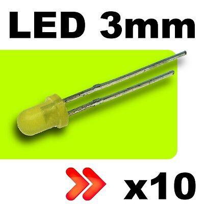 261/10# LED 3mm Jaune diffusant 10pcs + résistance