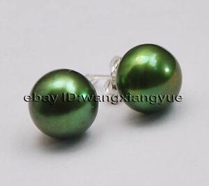 Big-11-12mm-Green-Akoya-Pearl-Silver-Stud-Earrings-AAA