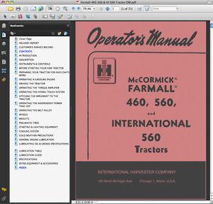 IH-Farmall-McCormick-International-460-amp-560-Tractors-OPERATORS-OWNERS-MANUAL-CD
