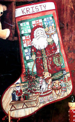 "#50754 CANDAMAR ""COUNTRY SANTA"" TOYS CROSS STITCH STOCKING KIT"