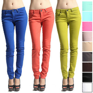 MOGAN-Casual-Candy-Colored-SUPER-SKINNY-JEANS-Comfy-Slim-Fit-LowRise-DENIM-PANTS