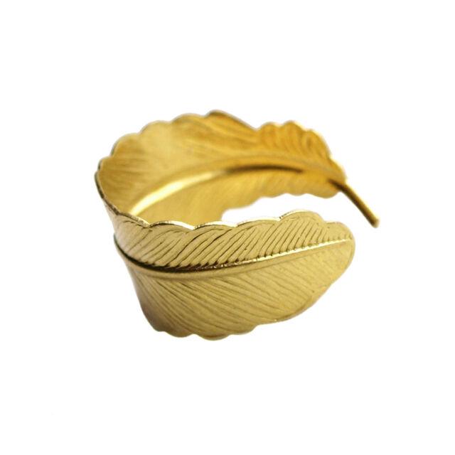 Feather Ring Band Leaf Cuff Boho Bohemian Jewellery Gold Brass Vintage Bird