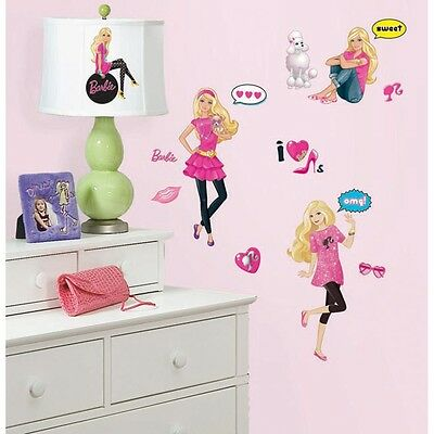 New BARBIE DOLL WALL DECALS Girls Bedroom Stickers Pink Room Decor Decorations