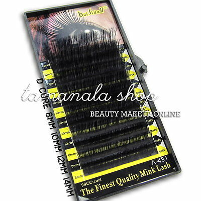 1 Box ( 8mm 10mm 12mm ) Black Color Lash Fake Eyelash Extension D Curve