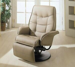 Tan Bone Leatherette Recliner Captains Chair Seat Swivel