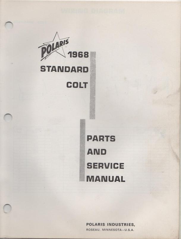1968 POLARIS  STANDARD COLT PARTS & SERVICE MANUAL  online discount
