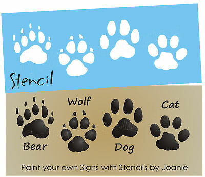 Stencil Bear Wolf Dog Cat Paw Print Tracks Cabin Outdoor Primitive Country Signs