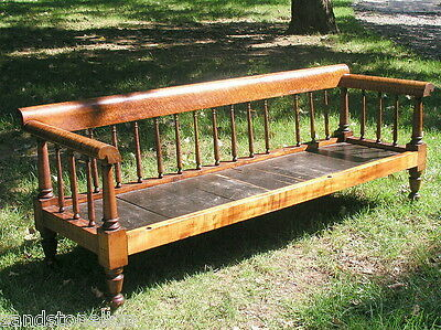 Antique Bed Tiger/Birdseye Maple 1820's New England American Hired Man's Settee