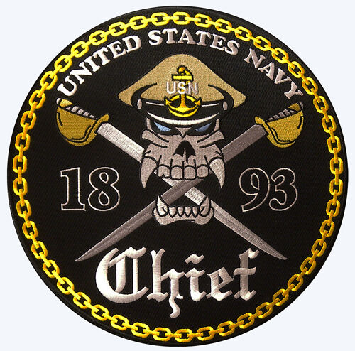 """NAVY CPO CHIEF PETTY OFFICER SKULL EMBROIDERED 12"""" JACKET BACK MILITARY PATCH"""