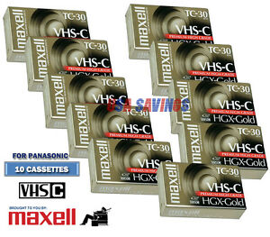 MAXELL-FOR-PANASONIC-VHS-C-Video-Tape-Pack-10-Tapes-TC-30