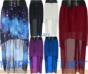 Womens-Chiffon-Drop-Hem-Tail-Skirt-Ladies-Fish-Tail-Full-Length-Maxi-Dress-8-14