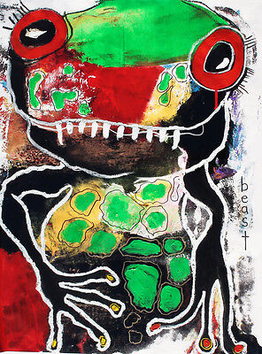 Original LABEDZKI  abstract painting outsider art BEAST 18x24 inches on paper