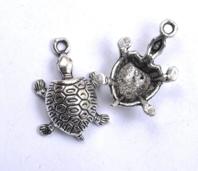 NP34 lots 10pcs Tibetan Tibet Silver Turtle Charm Pendant 22MM