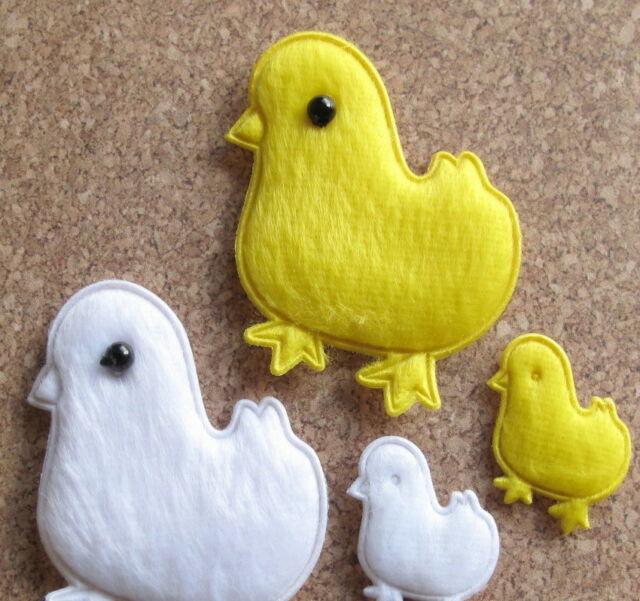 60 x (2-Size) Padded Felt Chicken Appliques for Easter Crafts/Cards/Bows ST509M