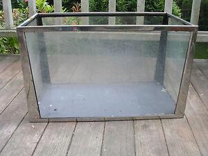 Mid-Century-Modern-Metatank-Stainless-Steel-Slate-Bottom-Aquarium-Tank