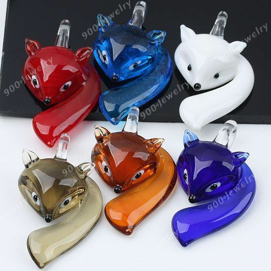 6 choices Smart Fox Lampwork Glass Pendant Vivid Animal Murano fit Necklace Cute
