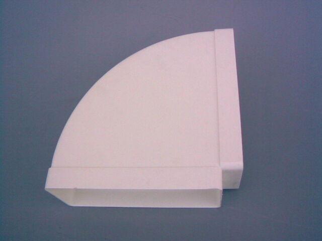 Lüftungsrohr, Flachkanal 220 x 90 mm, Horizontalbogen 90°