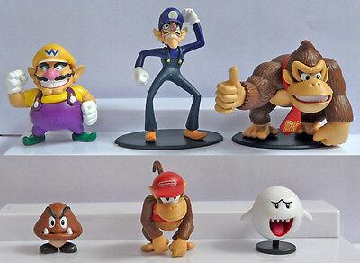 6 Super Mario Bros Figures Donkey Kong Waluigi Wario Ghost Goomba