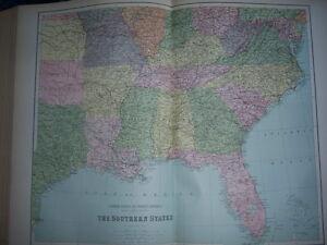 AMERIQUE-SOUTHERN-STATES-CARTE-ATLAS-19eme-COULEUR-W-HUGHES-1886-ROTHSCHILD-Ed
