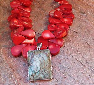 CORAL RED NATURAL NECKLACE FRINGE BIG ART GEMSTONE CHUNK aqua JASPER PENDANT