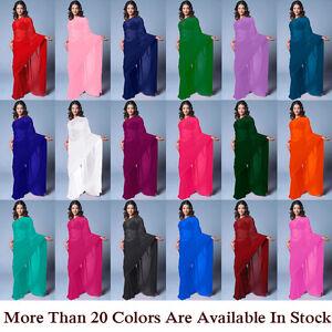 NW Wedding Chiffon Plain Saree Sari Bollywood Belly Dance Party Wear Curtain TOP