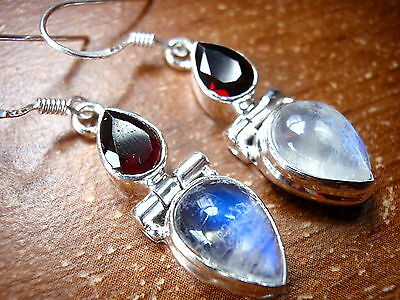 Moonstone Faceted Garnet 925 Sterling Silver Dangle Drop Earrings Teardrop New