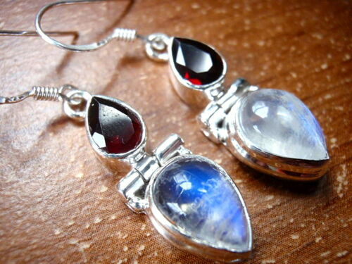 Moonstone Faceted Garnet 925 Sterling Silver Dangle Drop Earrings Teardrop New