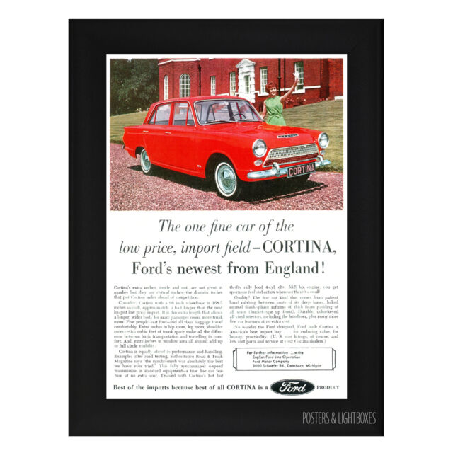 FORD CORTINA MARK ONE ADVERT CAR MOTORING Framed Poster A4 Black Frame