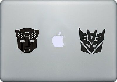 2x Autobot Decepticon Transformer vinyl decal sticker, Apple Macbook Pro Air mac