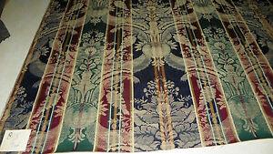 Blue-Green-Burgundy-Stripe-Print-Damask-Upholstery-Fabric-1-Yard-R805