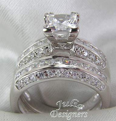 2.53ct Princess Cut Engagement Wedding Ring Set, Sterling Silver, Size 4- 10 ½