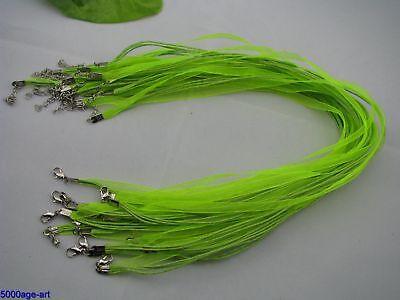 10pcs light green Organza Ribbon Waxen Cord Necklaces