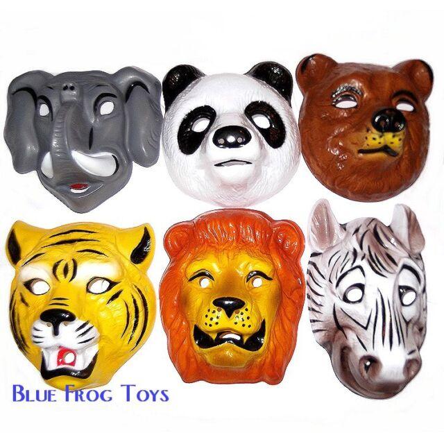 6 Wild Animal Plastic Childrens Face Masks