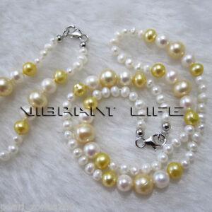 13/5 3-8 White Yellow Freshwater Pearl Necklace Bracelet Set C