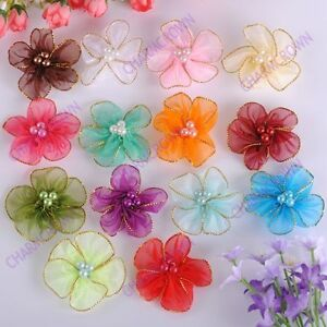 140pcs-Mixed-Color-Satin-Ribbon-Flower-With-Beads-Appliques-CA8119-Free-Ship
