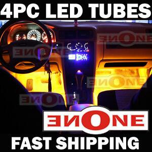"4pc Yellow LED Interior Neon Light Set w Sound Mode 9"""