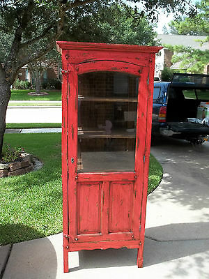Red Distressed( in the style of shabby chic) Cabinet/Cupboard/Curio
