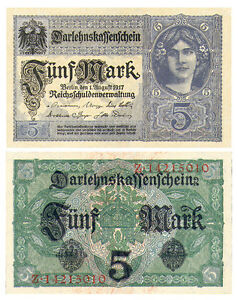 SUPERB BLUE WW1 1917 GERMAN GIRL w FLOWERS 5 MARKS! XXX-RARE GEM CU! $50 RETAIL!