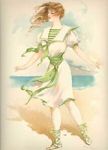 1908 Vintage Victorian Swimming Suit Clad Lady Print Maud Stumm Old Colorful