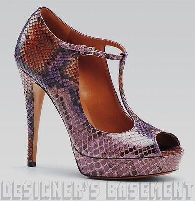 b9128a50e93 GUCCI grape glam Python peep toe BETTY T-Strap PLATFORM shoes NIB Authentic!