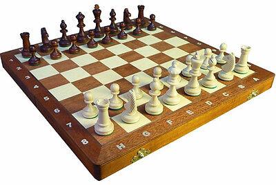Schach; Schachspiel aus Holz Staunton Nr. 3A, Schachbrett 35 x 35 cm Intarsie