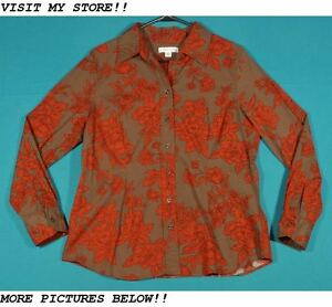 Coldwater-Creek-Size-L-12-14-Orange-Brown-Floral-Cotton-Shirt-Top-Blouse