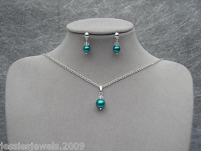 15~ Pearl Crystal Necklace Earrings Jewellery Set Bridesmaid Bridal Wedding Prom