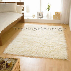 small extra large cream ivory white flokati 100 wool shaggy fluffy pile rug ebay. Black Bedroom Furniture Sets. Home Design Ideas